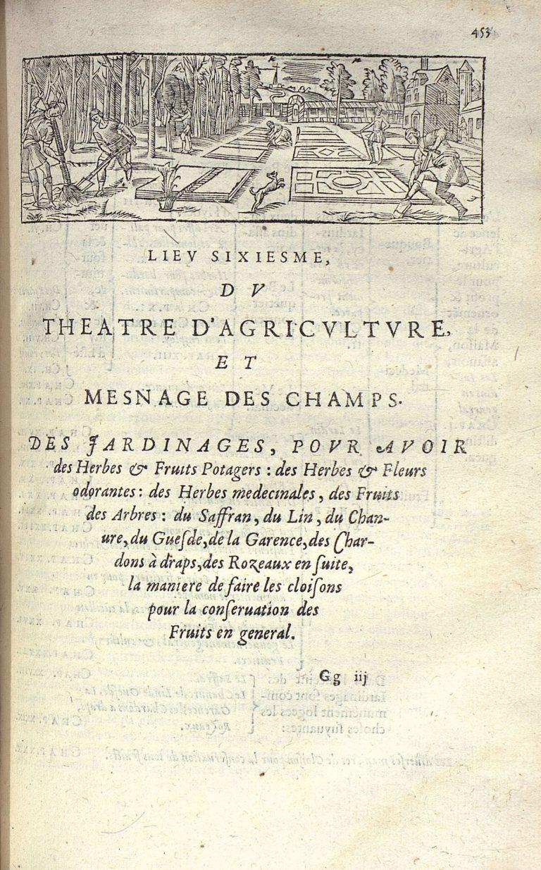 De Serres O., Théâtre d'agriculture et mesnage des champs, 1623